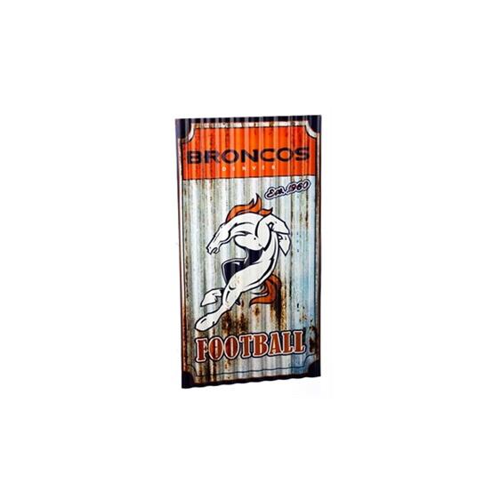 Broncos Corrugated Metal  NFL Sign