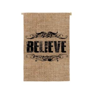 Burlap Believe Mini Garden Flag