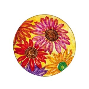 Glass Daisy Frenzy Birdbath