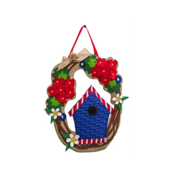 Burlap Patriotic Welcome Wreath Door Hanger