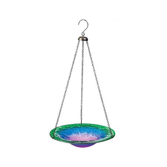 Glass Sunset Hanging Birdbath