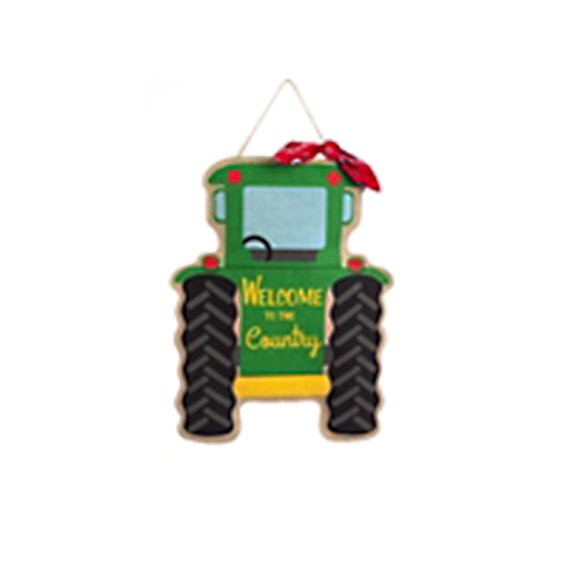 Burlap Welcome Tractor Door Hanger