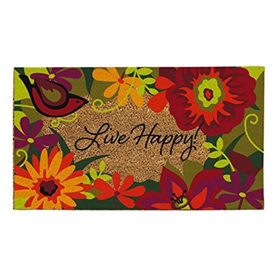 Natural Fiber Live Happy Doormat