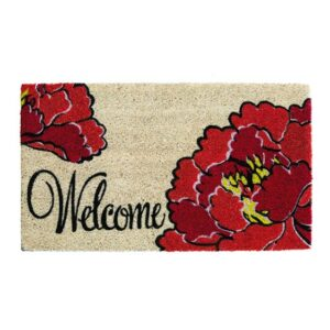 Natural Fiber Red Peony Welcome Doormat