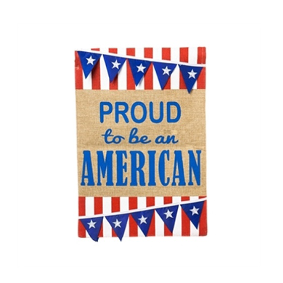 Burlap American Pennant Mini Garden Flag