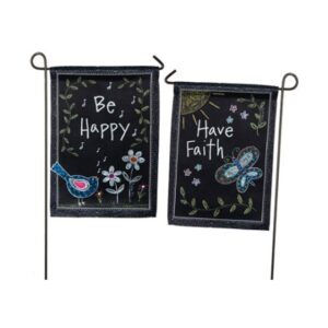 Suede Be Happy Mini Garden Flag
