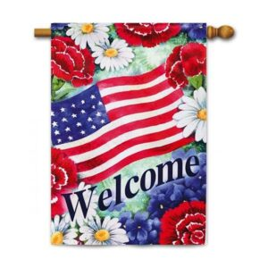 Suede Blue White and Welcome Garden Flag