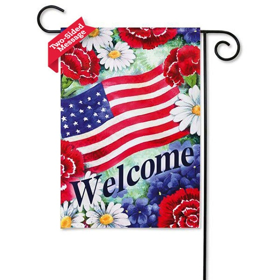 Suede Blue White and Welcome Mini Garden Flag