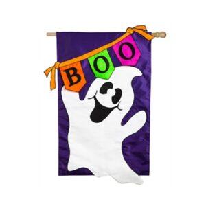 Applique Boo Ghost Mini Garden Flag