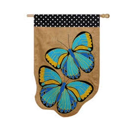 Burlap Butterfly Garden Flag