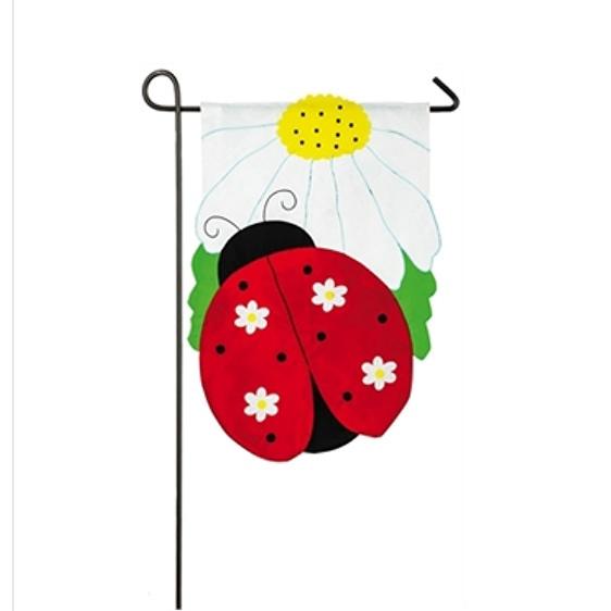 Applique Daisy Ladybug Garden Flag
