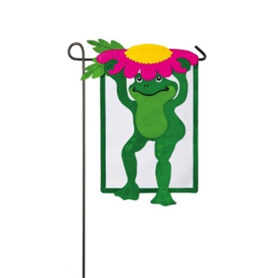 Felt Frog Mini Garden Flag