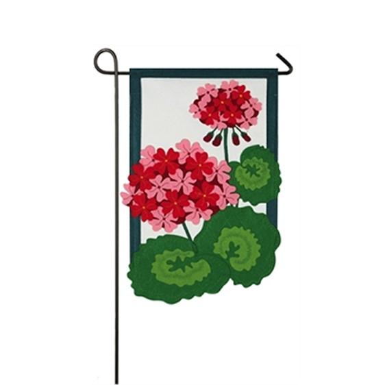 Felt Geranium Mini Garden Flag