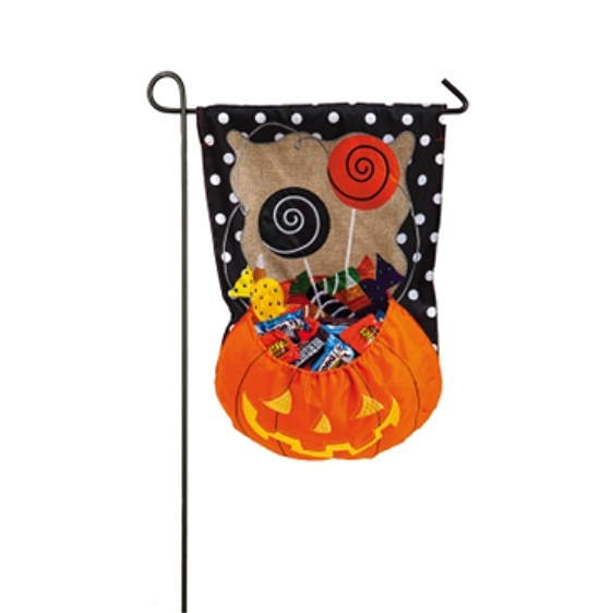 Burlap Halloween Candy Treat Garden Flag