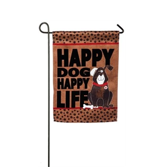 Suede Happy Dog Garden Flag