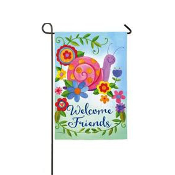 Suede Happy Snail Garden Flag