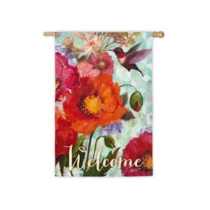 Suede Hummingbird and Poppies Garden Flag