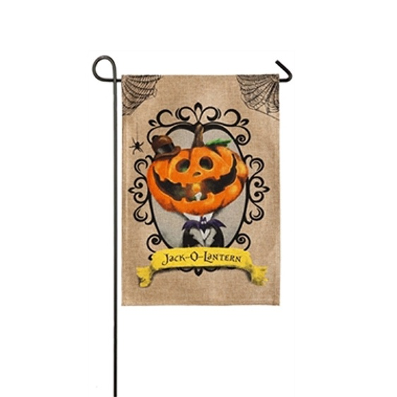 Burlap Jack-O-Lantern Mini Garden Flag