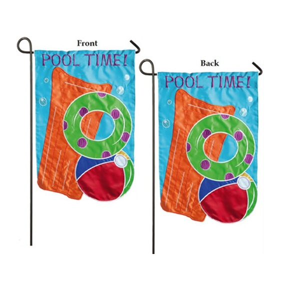 Applique Pool Time Garden Flag