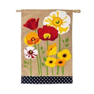 Burlap Poppies House Flag