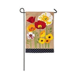 Burlap Poppies Garden Flag