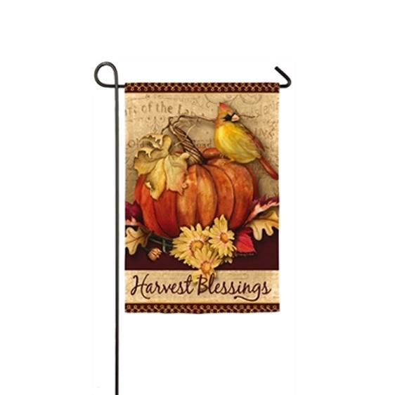 Suede Pumpkin Harvest Garden Flag