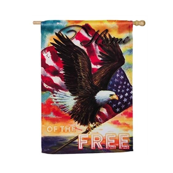 Suede Star Spangled Eagle Garden Flag