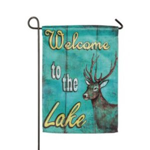 Suede Welcome to the Lake Mini Garden Flag