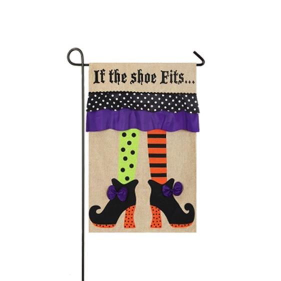 Burlap Witch Feet Mini Garden Flag
