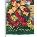 Cardinal Wreath Garden Flag