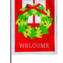 Welcome Door Wreath Felt Garden Flag