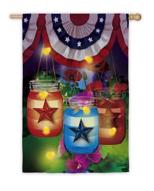 Patriotic Mason Jar and Fireflies Garden Flag