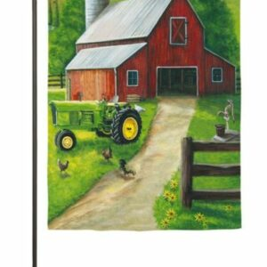 Tractor in a Barn Garden Flag