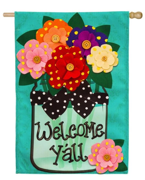 Welcome Y'all Polka Dot House Flag