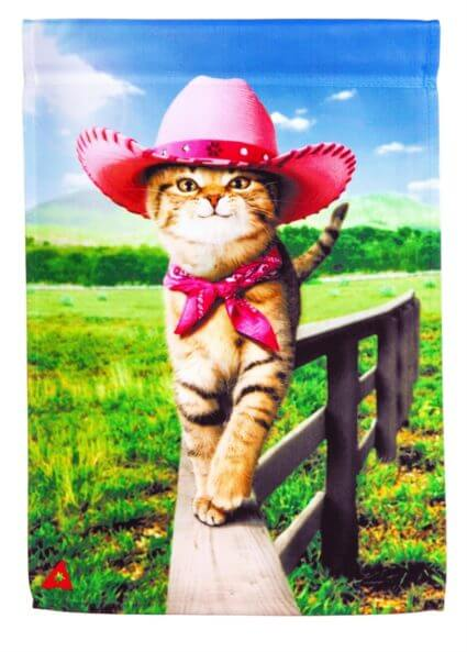 Cowgirl Kitty Garden Flag