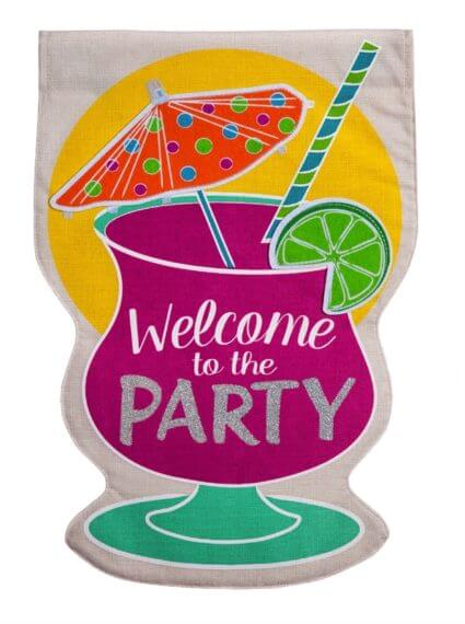 Party Welcome Garden Flag