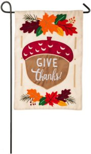 Give Thanks Acorn Garden Flag
