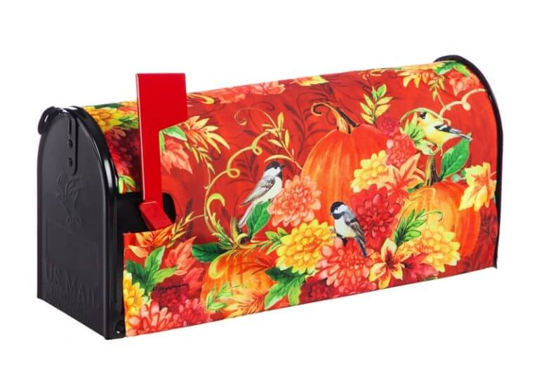 Pumpkins with Birds Mailbox Cover