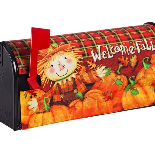 Scarecrow Welcome Fall Mailbox Cover