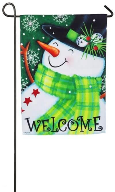 Welcome Snowman Garden Flag