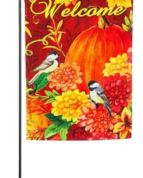 pumpkins with birds garden