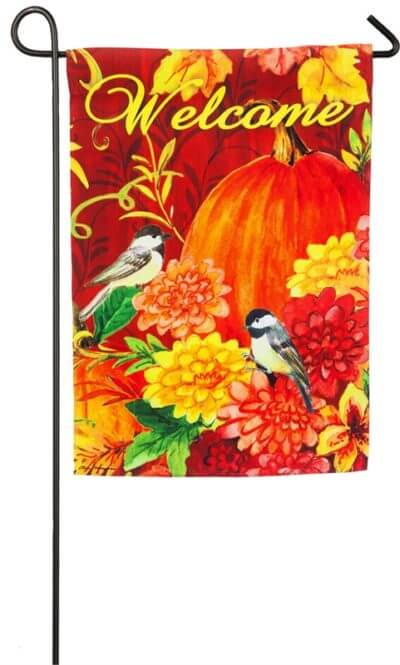 Pumpkins with Birds Garden Flag
