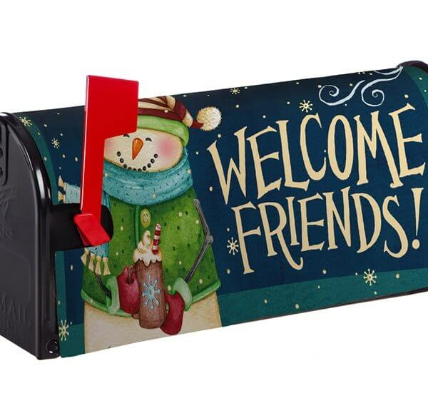 Snowman Welcome Friends Mailbox Cover
