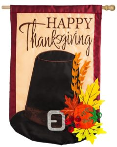 Thanksgiving Pilgrim Hat House Flag
