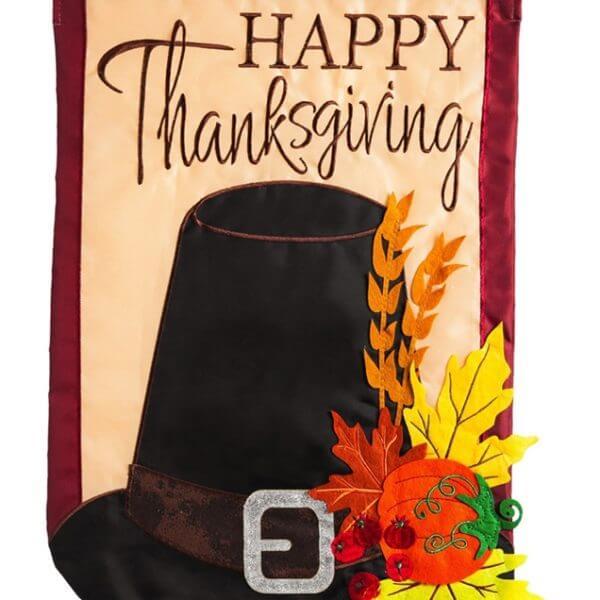 Thanksgiving Pilgrim Hat House Flag