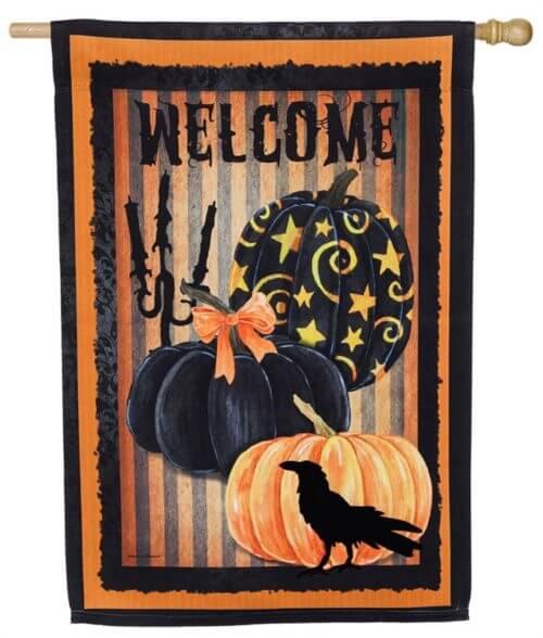 Welcome Halloween Pumpkins House Flag